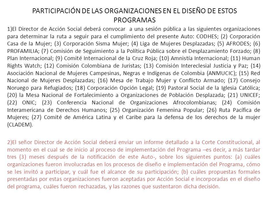 PARTICIPACIÓN DE LAS ORGANIZACIONES EN EL DISEÑO DE ESTOS PROGRAMAS 1)El Director de Acción Social deberá convocar a una sesión pública a las siguient