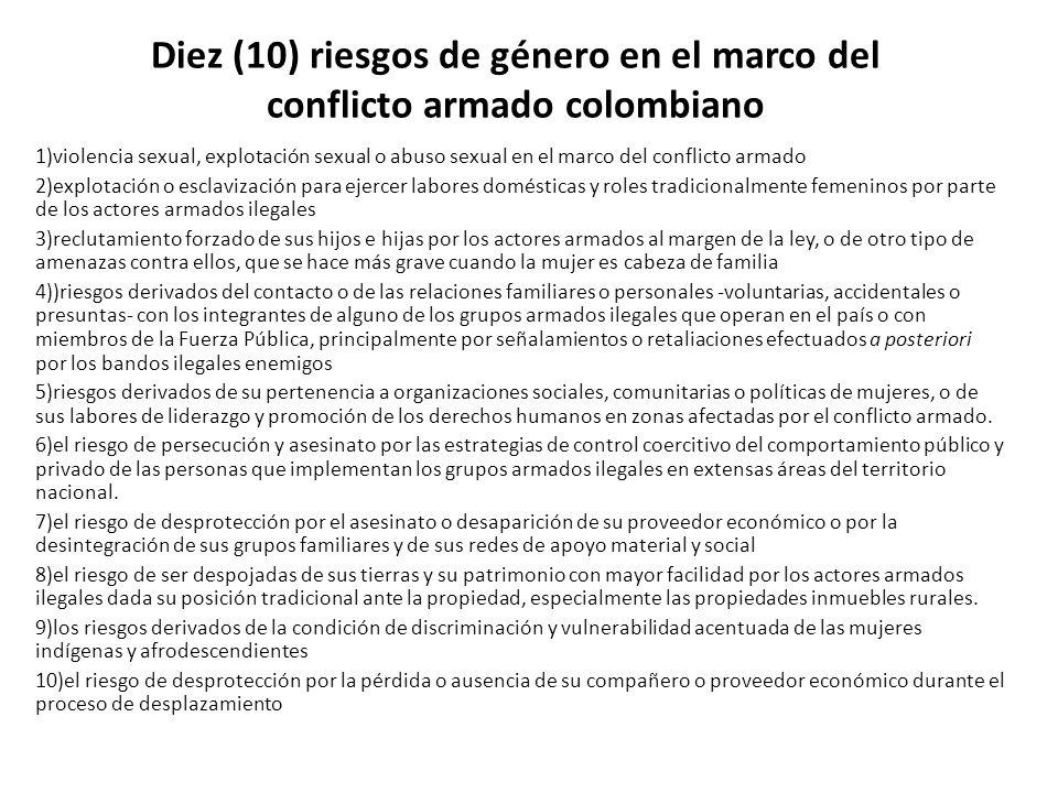 Violencia sexual (a) actos de violencia sexual perpetrados como parte integrante de operaciones violentas de mayor envergadura -tales como masacres, tomas, pillajes y destrucciones de poblados-, cometidos contra las mujeres, jóvenes, niñas y adultas de la localidad afectada, por parte de los integrantes de grupos armados al margen de la ley; (b) actos deliberados de violencia sexual cometidos ya no en el marco de acciones violentas de mayor alcance, sino individual y premeditadamente por los miembros de todos los grupos armados que toman parte en el conflicto, que en sí mismos forman parte (i) de estrategias bélicas enfocadas en el amedrentamiento de la población, (ii) de retaliación contra los auxiliadores reales o presuntos del bando enemigo a través del ejercicio de la violencia contra las mujeres de sus familias o comunidades, (iii) de retaliación contra las mujeres acusadas de ser colaboradoras o informantes de alguno de los grupos armados enfrentados, (iv) de avance en el control territorial y de recursos, (v) de coacción para diversos propósitos en el marco de las estrategias de avance de los grupos armados, (vi) de obtención de información mediante el secuestro y sometimiento sexual de las víctimas, o (vii) de simple ferocidad; (c) la violencia sexual contra mujeres señaladas de tener relaciones familiares o afectivas (reales o presuntas) con un miembro o colaborador de alguno de los actores armados legales e ilegales, por parte de sus bandos enemigos, en tanto forma de retaliación y de amedrentamiento de sus comunidades; (d) la violencia sexual contra las mujeres, jóvenes y niñas que son reclutadas por los grupos armados al margen de la ley, violencia sexual que incluye en forma reiterada y sistemática: (i) la violación, (ii) la planificación reproductiva forzada, (iii) la esclavización y explotación sexuales, (iv) la prostitución forzada, (v) el abuso sexual, (vi) la esclavización sexual por parte de los jefes o comandantes, (vii) el embarazo forzado, (vii