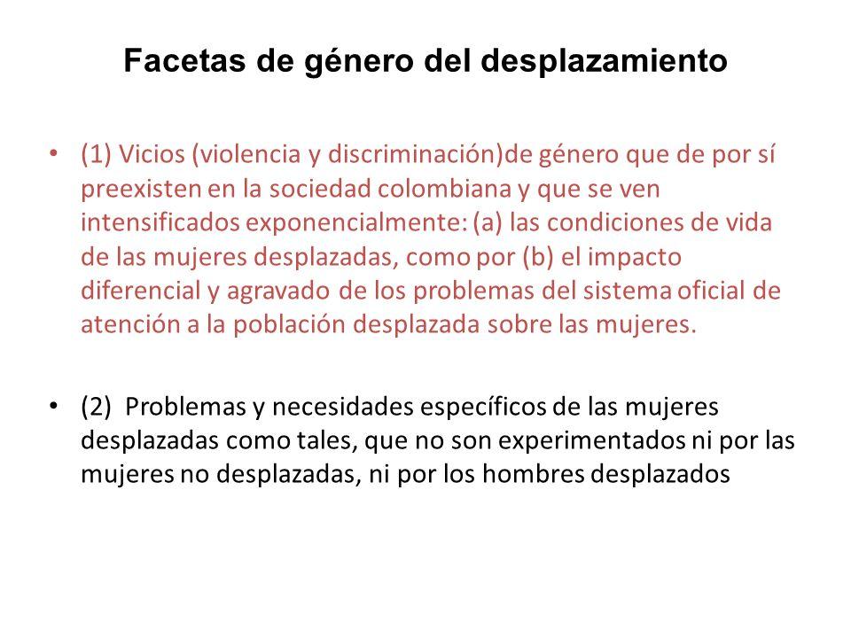 1)Los vicios (violencia y discriminación)de género que de por sí preexisten en la sociedad colombiana y que se ven intensificados exponencialmente (i) la violencia y el abuso sexuales, incluida la prostitución forzada, la esclavitud sexual o la trata de personas con fines de explotación sexual; (ii) la violencia intrafamiliar y la violencia comunitaria por motivos de género; (iii) el desconocimiento y vulneración de su derecho a la salud y especialmente de sus derechos sexuales y reproductivos a todo nivel, con particular gravedad en el caso de las niñas y adolescentes pero también de las mujeres gestantes y lactantes; (iv) la asunción del rol de jefatura de hogar femenina sin las condiciones de subsistencia material mínimas requeridas por el principio de dignidad humana, con especiales complicaciones en casos de mujeres con niños pequeños, mujeres con problemas de salud, mujeres con discapacidad o adultas mayores; (v) obstáculos agravados en el acceso al sistema educativo; (vi) obstáculos agravados en la inserción al sistema económico y en el acceso a oportunidades laborales y productivas; (vii) la explotación doméstica y laboral, incluida la trata de personas con fines de explotación económica; (viii) obstáculos agravados en el acceso a la propiedad de la tierra y en la protección de su patrimonio hacia el futuro, especialmente en los planes de retorno y reubicación; (ix) los cuadros de discriminación social aguda de las mujeres indígenas y afrodescendientes desplazadas; (x) la violencia contra las mujeres líderes o que adquieren visibilidad pública por sus labores de promoción social, cívica o de los derechos humanos; (xi) la discriminación en su inserción a espacios públicos y políticos, con impacto especial sobre su derecho a la participación; y (xii) el desconocimiento frontal de sus derechos como víctimas del conflicto armado a la justicia, la verdad, la reparación y la garantía de no repetición.