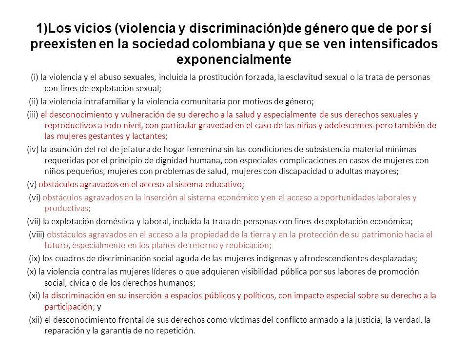 1)Los vicios (violencia y discriminación)de género que de por sí preexisten en la sociedad colombiana y que se ven intensificados exponencialmente (i)