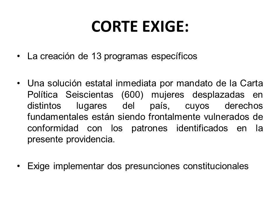 CORTE EXIGE: La creación de 13 programas específicos Una solución estatal inmediata por mandato de la Carta Política Seiscientas (600) mujeres desplaz