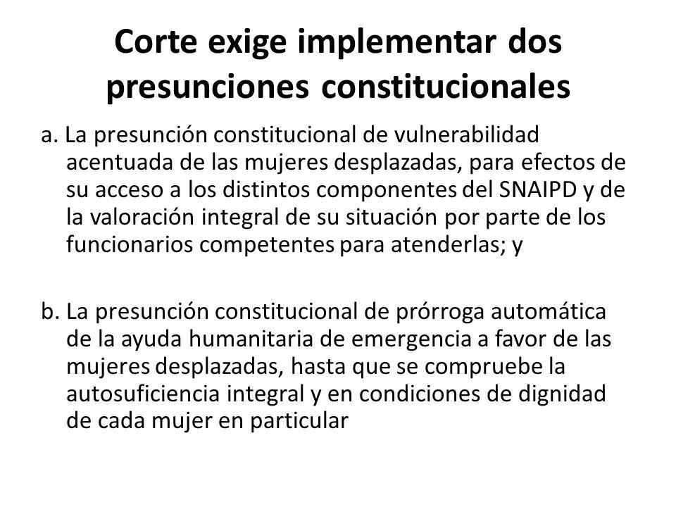 Corte exige implementar dos presunciones constitucionales a. La presunción constitucional de vulnerabilidad acentuada de las mujeres desplazadas, para
