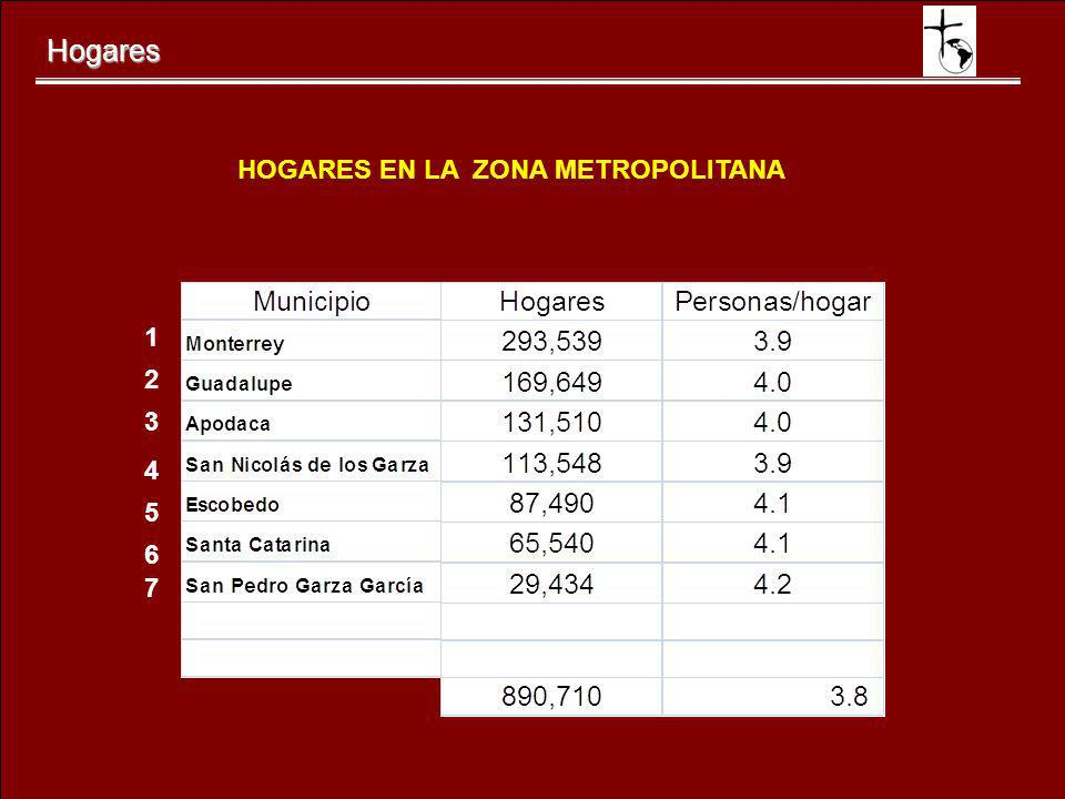 Hogares HOGARES EN LA ZONA METROPOLITANA 1 2 3 4 5 6 7