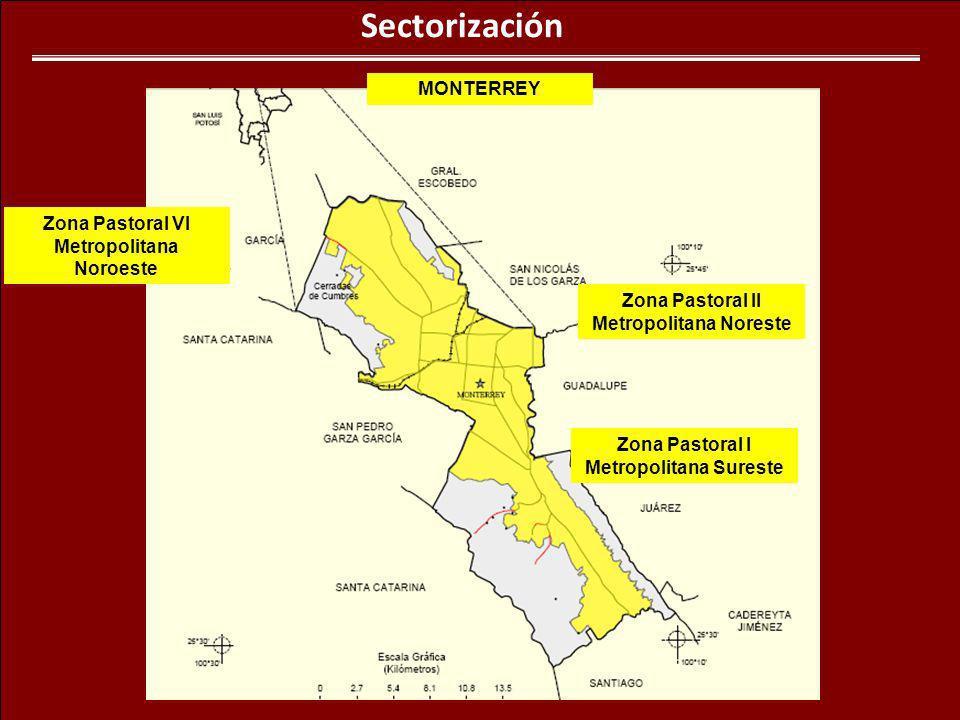 Sectorización Zona Pastoral I Metropolitana Sureste Zona Pastoral II Metropolitana Noreste Zona Pastoral VI Metropolitana Noroeste MONTERREY