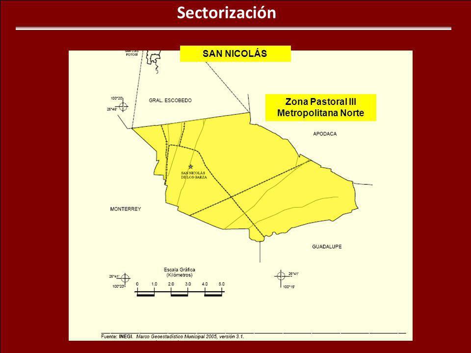 Sectorización Zona Pastoral III Metropolitana Norte SAN NICOLÁS