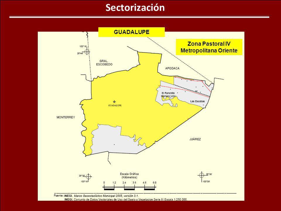 Sectorización Zona Pastoral IV Metropolitana Oriente GUADALUPE