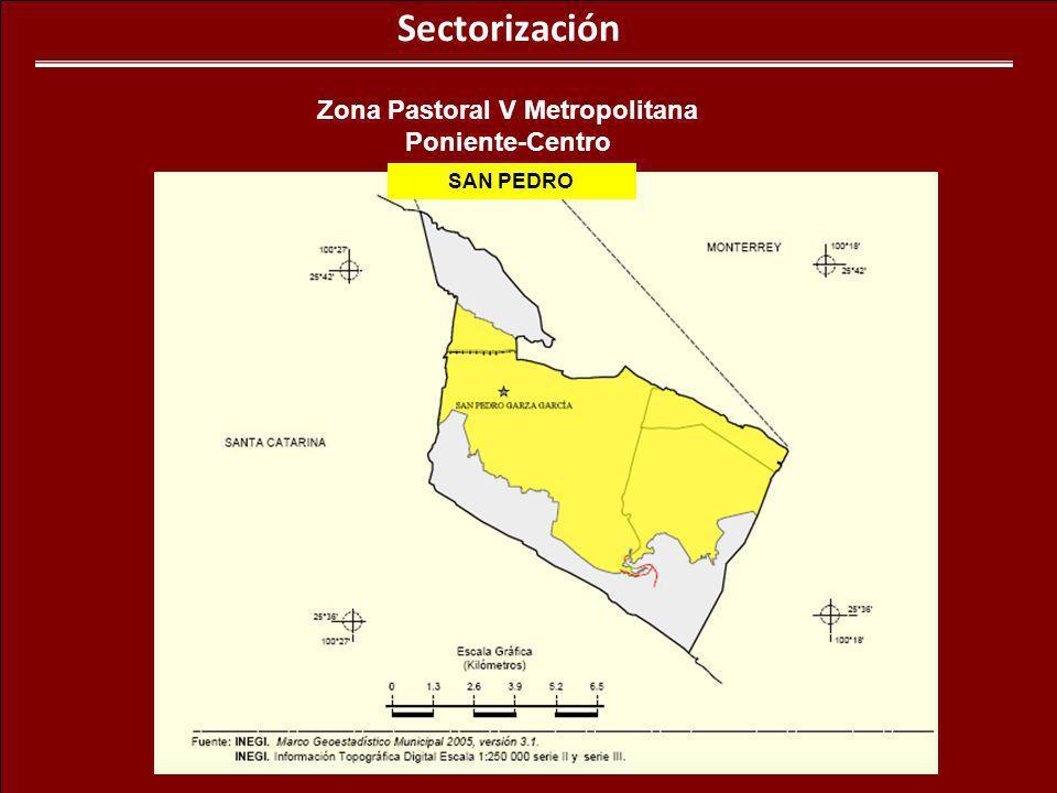 Sectorización Zona Pastoral V Metropolitana Poniente-Centro SAN PEDRO