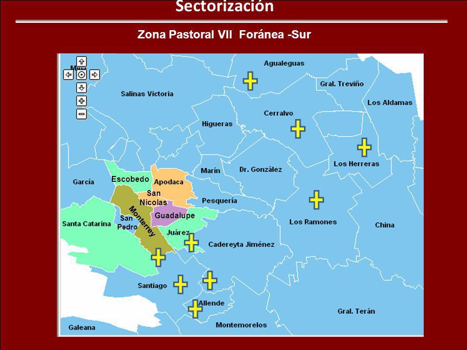 Sectorización Zona Pastoral VII Foránea -Sur Monterrey Guadalupe San Pedro Escobedo San Nicolas