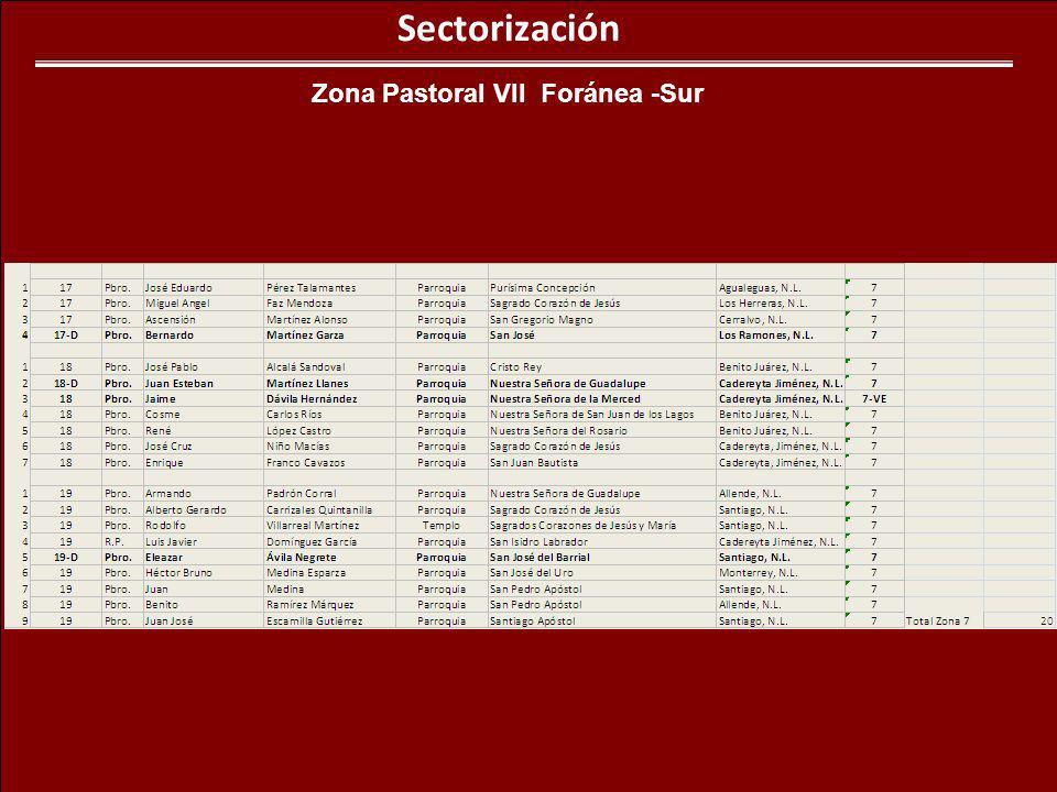 Sectorización Zona Pastoral VII Foránea -Sur