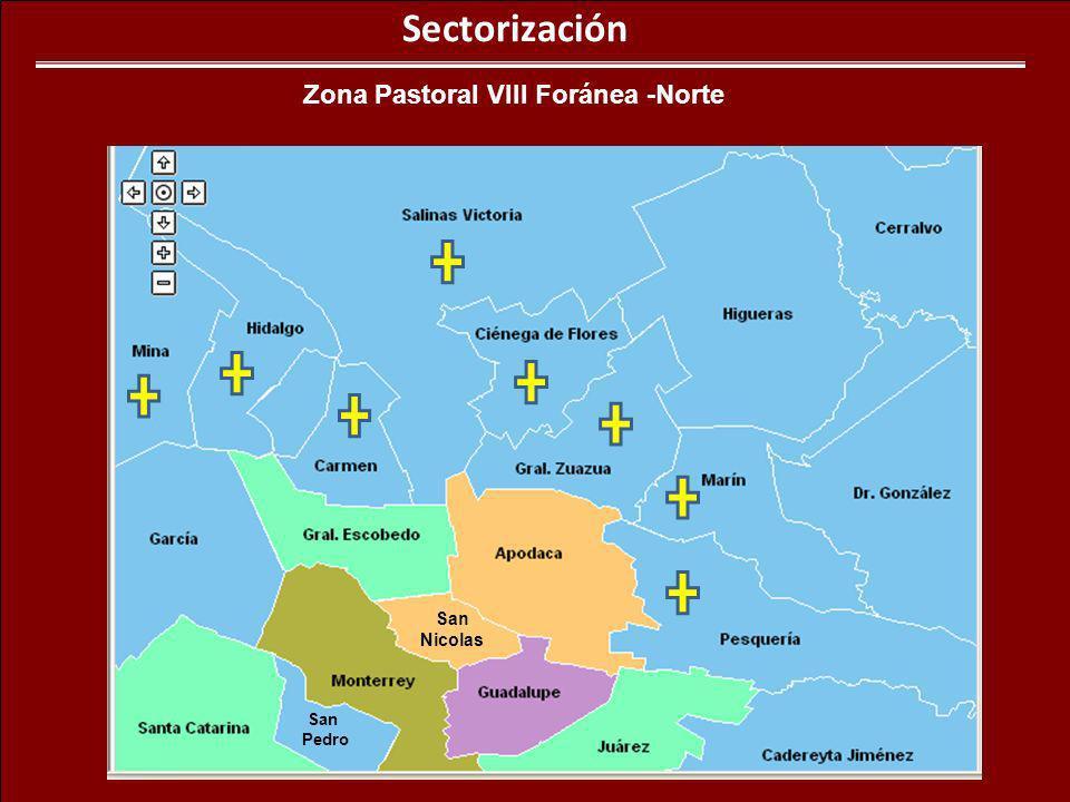 Sectorización Zona Pastoral VIII Foránea -Norte San Pedro San Nicolas