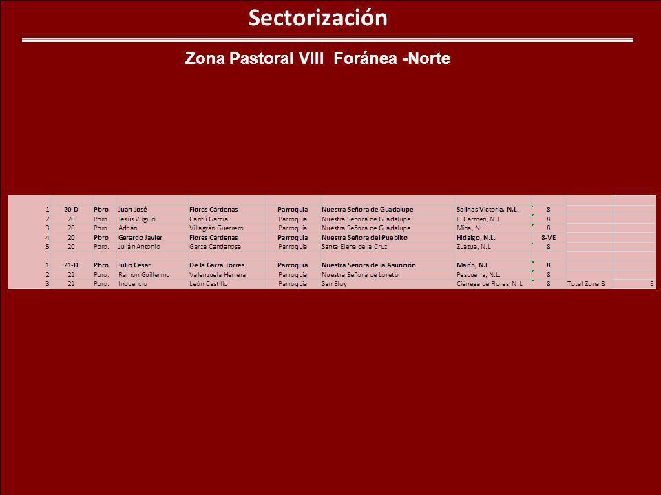 Sectorización Zona Pastoral VIII Foránea -Norte