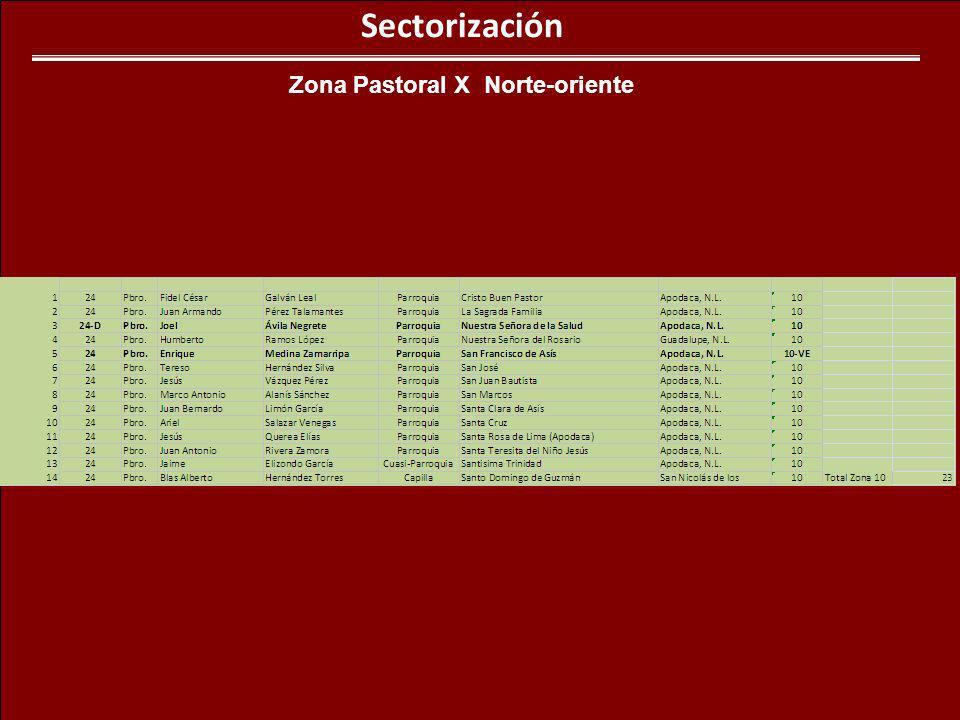 Sectorización Zona Pastoral X Norte-oriente