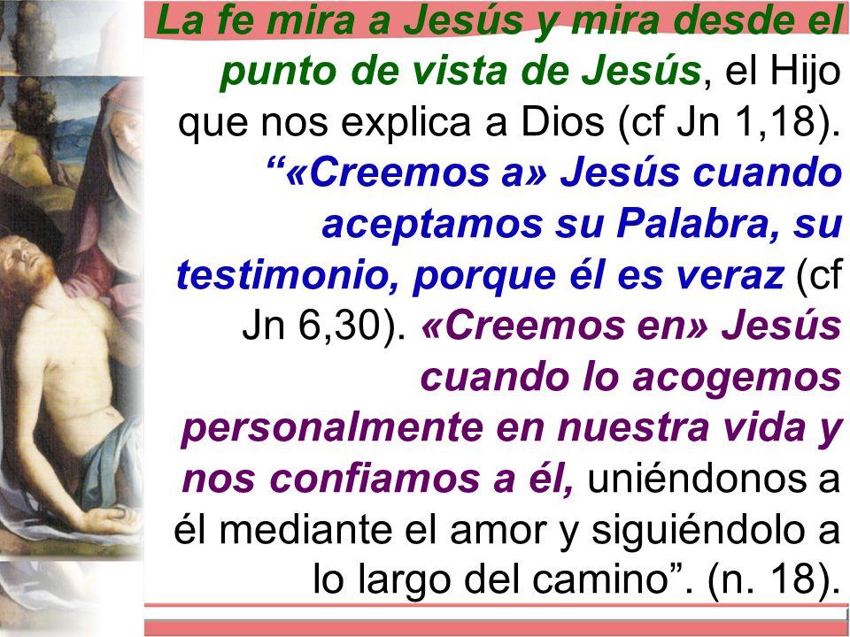 La fe mira a Jesús y mira desde el punto de vista de Jesús, el Hijo que nos explica a Dios (cf Jn 1,18).