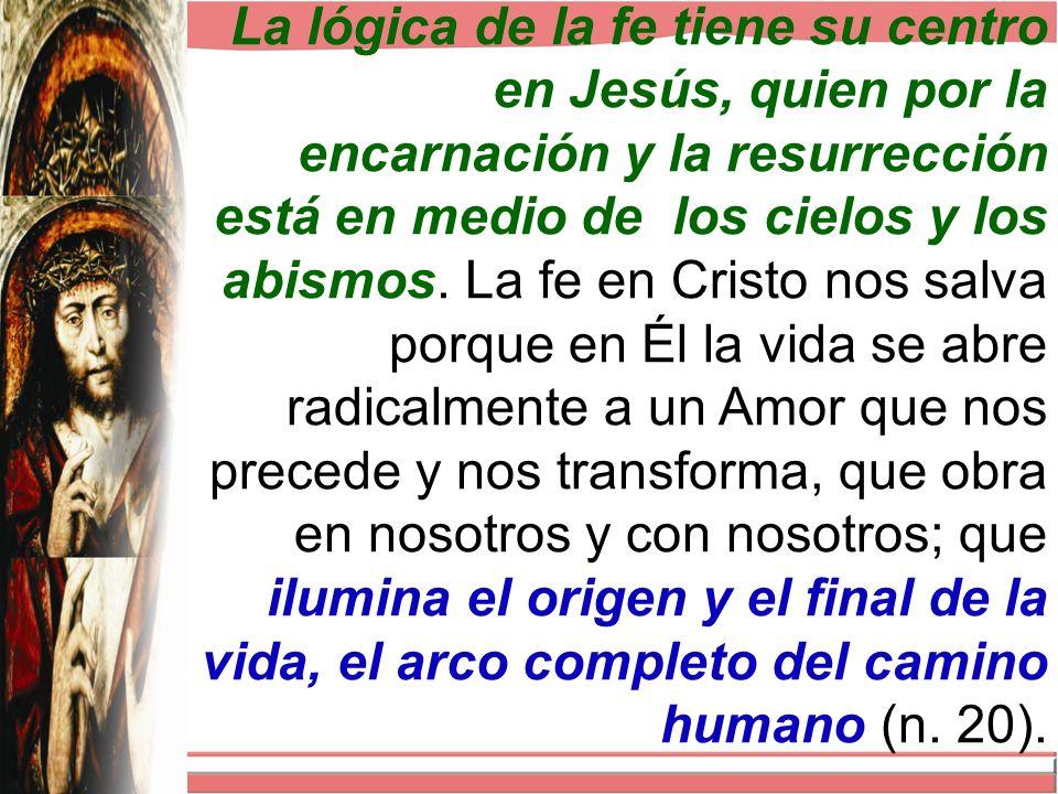 La lógica de la fe tiene su centro en Jesús, quien por la encarnación y la resurrección está en medio de los cielos y los abismos.
