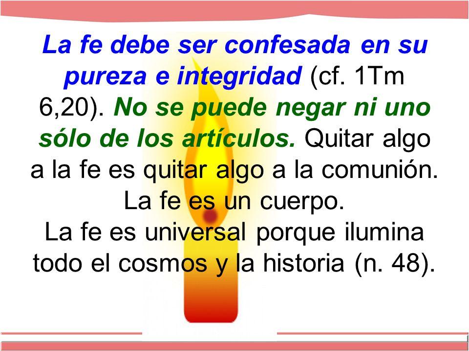 La fe debe ser confesada en su pureza e integridad (cf.