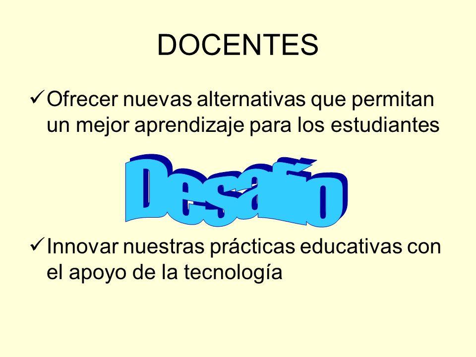 DOCENTES Ofrecer nuevas alternativas que permitan un mejor aprendizaje para los estudiantes Innovar nuestras prácticas educativas con el apoyo de la t
