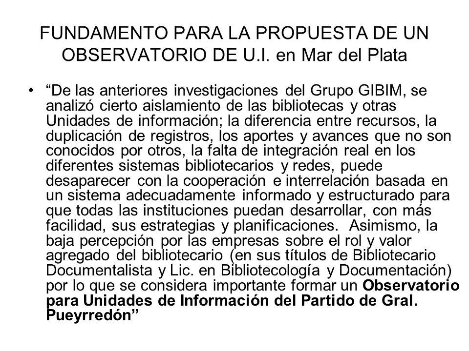 FUNDAMENTO PARA LA PROPUESTA DE UN OBSERVATORIO DE U.I.
