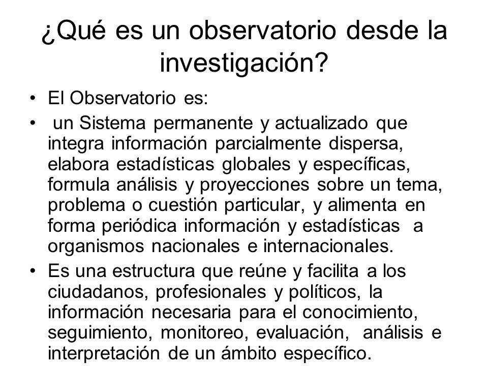 ¿Qué es un observatorio desde la investigación.