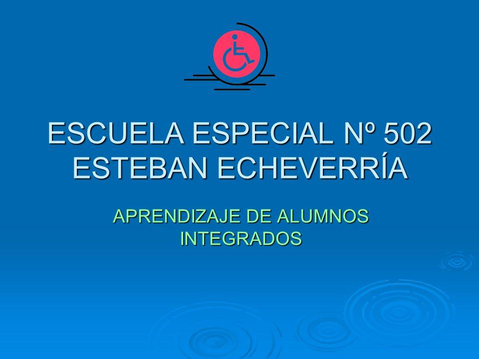 ESCUELA ESPECIAL Nº 502 ESTEBAN ECHEVERRÍA APRENDIZAJE DE ALUMNOS INTEGRADOS