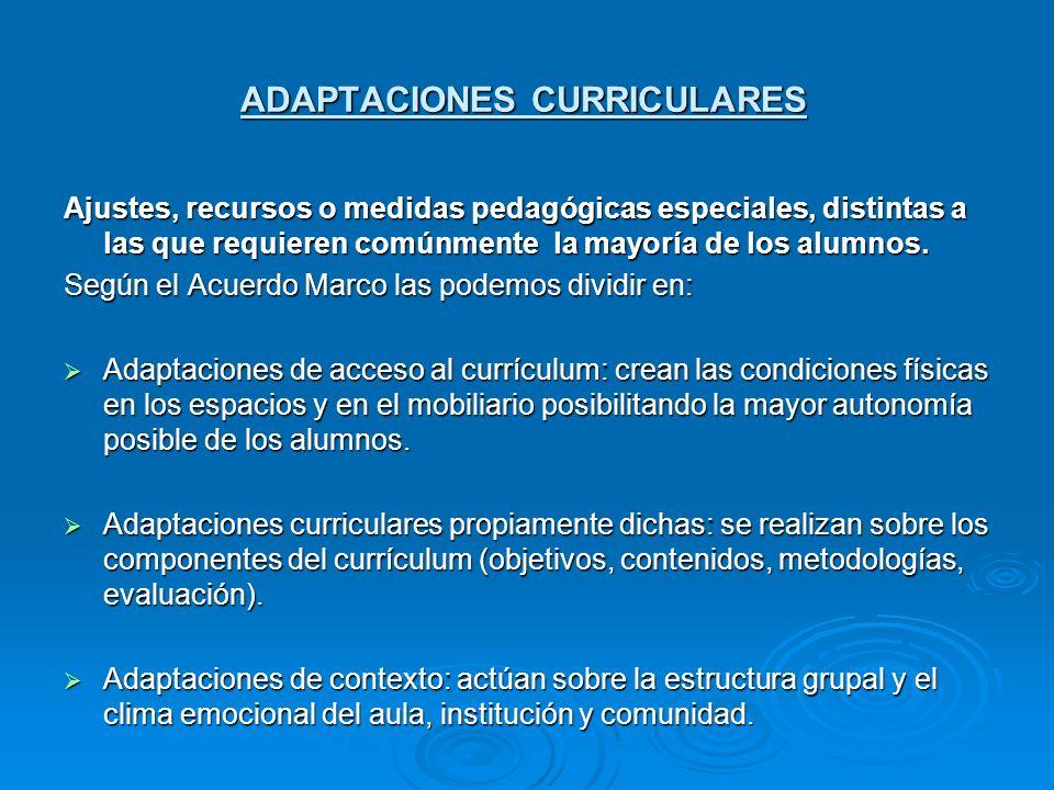 ADAPTACIONES CURRICULARES Ajustes, recursos o medidas pedagógicas especiales, distintas a las que requieren comúnmente la mayoría de los alumnos. Segú