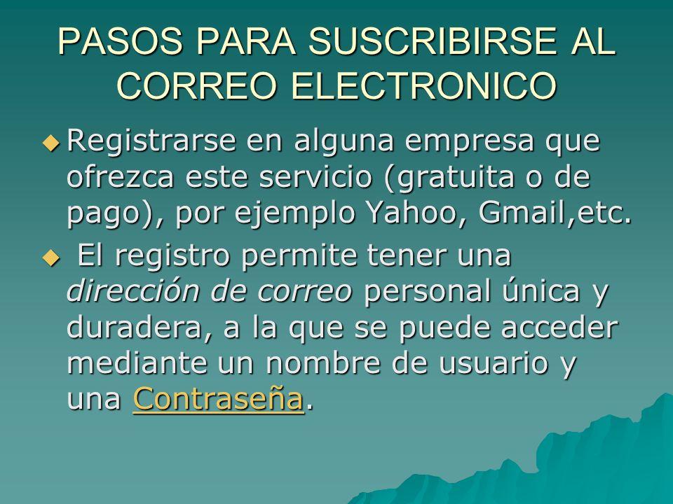 PASOS PARA SUSCRIBIRSE AL CORREO ELECTRONICO Registrarse en alguna empresa que ofrezca este servicio (gratuita o de pago), por ejemplo Yahoo, Gmail,etc.