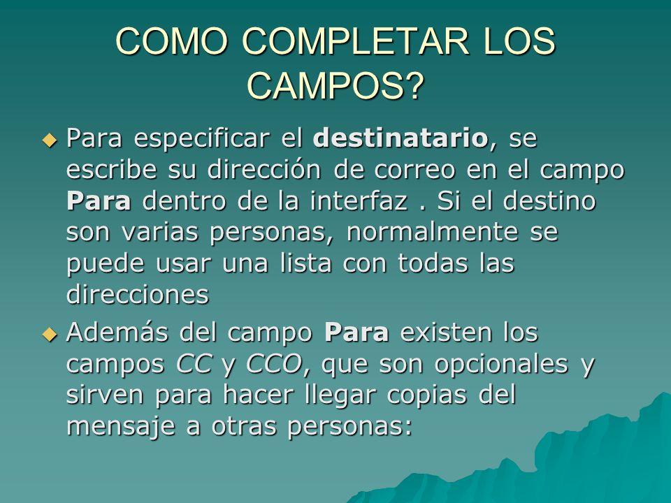 COMO COMPLETAR LOS CAMPOS.