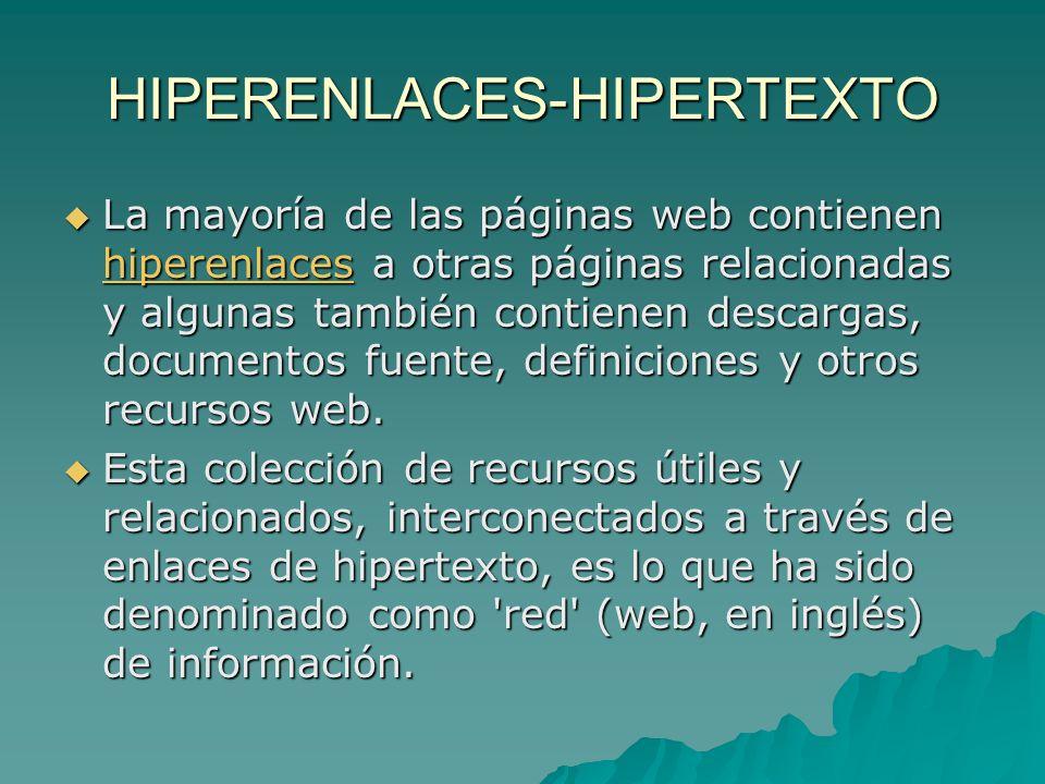 HIPERENLACES-HIPERTEXTO La mayoría de las páginas web contienen hiperenlaces a otras páginas relacionadas y algunas también contienen descargas, documentos fuente, definiciones y otros recursos web.