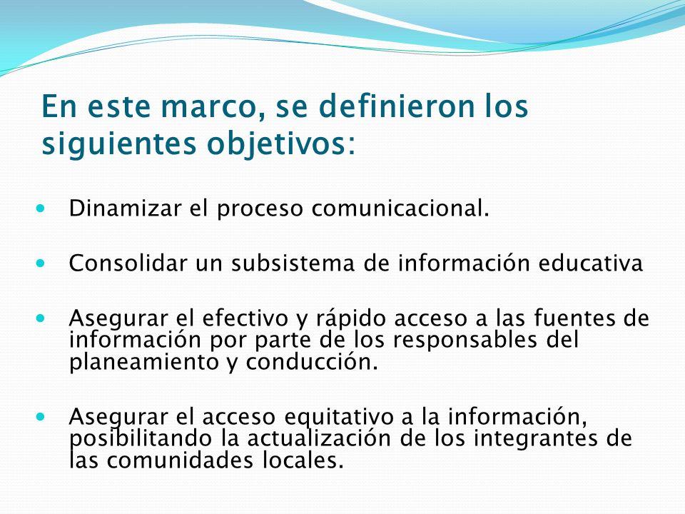 En este marco, se definieron los siguientes objetivos: Dinamizar el proceso comunicacional. Consolidar un subsistema de información educativa Asegurar