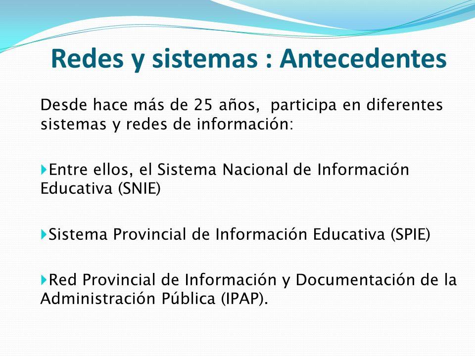 Redes y sistemas : Antecedentes Desde hace más de 25 años, participa en diferentes sistemas y redes de información: Entre ellos, el Sistema Nacional d