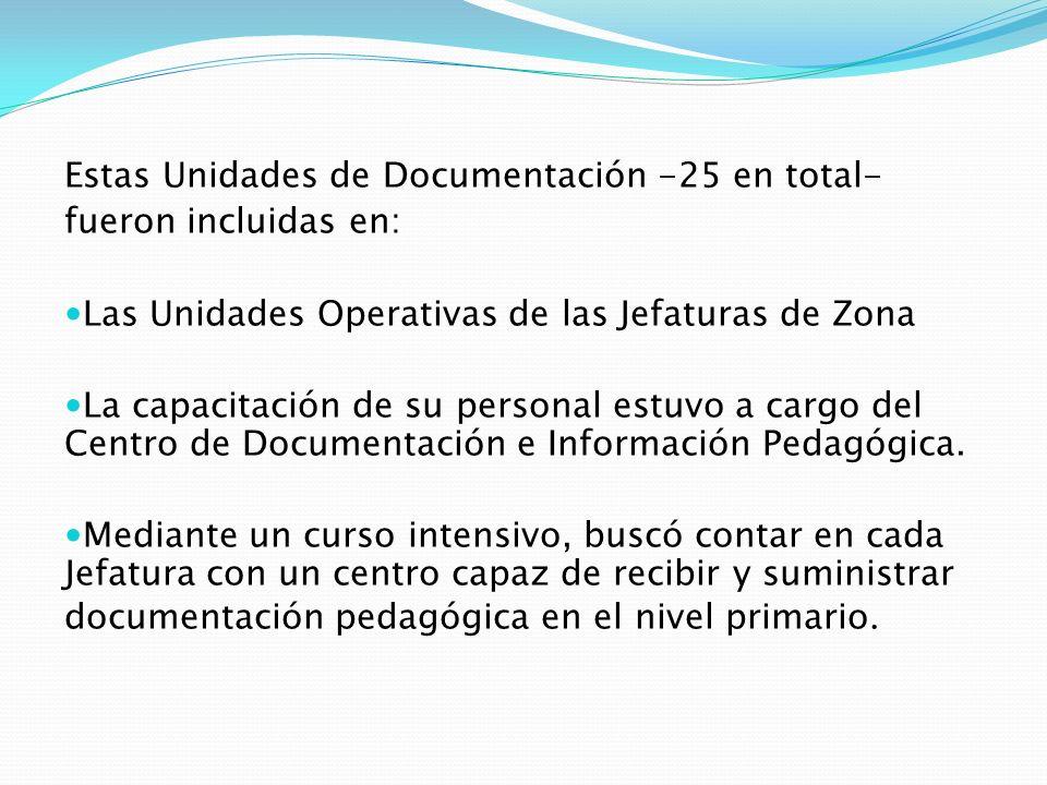 Estas Unidades de Documentación -25 en total- fueron incluidas en: Las Unidades Operativas de las Jefaturas de Zona La capacitación de su personal est