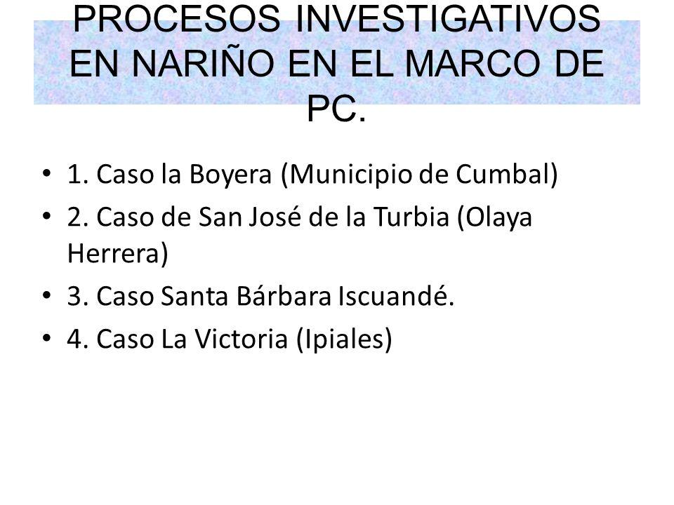 PROCESOS INVESTIGATIVOS EN NARIÑO EN EL MARCO DE PC.