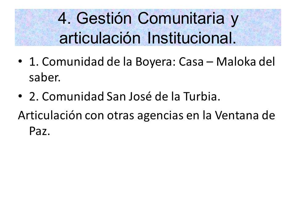 4. Gestión Comunitaria y articulación Institucional.