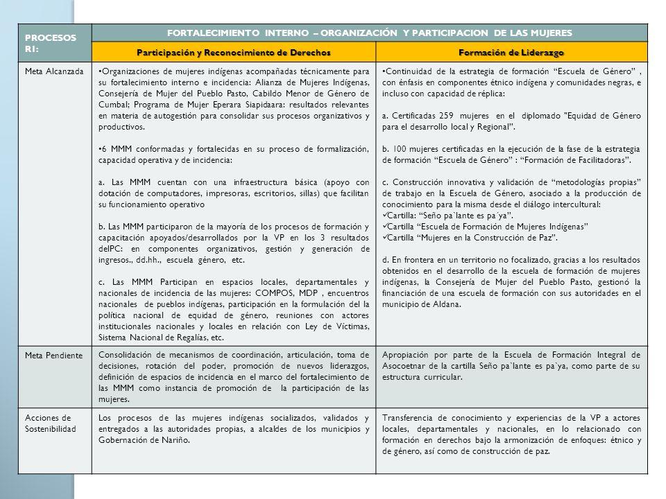 PROCESOS R1: FORTALECIMIENTO INTERNO – ORGANIZACIÓN Y PARTICIPACION DE LAS MUJERES Participación y Reconocimiento de Derechos Formación de Liderazgo M
