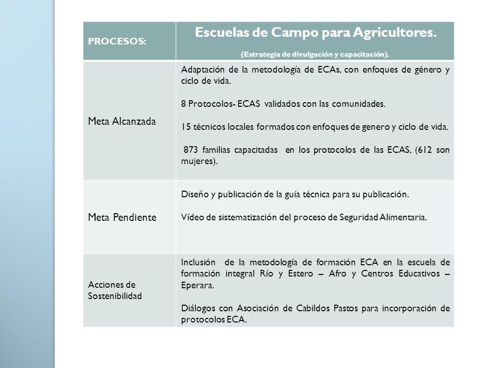 PROCESOS: Escuelas de Campo para Agricultores. (Estrategia de divulgación y capacitación). Meta Alcanzada Adaptación de la metodología de ECAs, con en