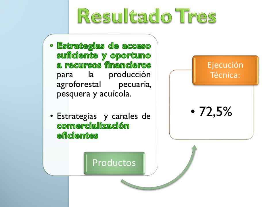 Productos 72,5% Ejecución Técnica: