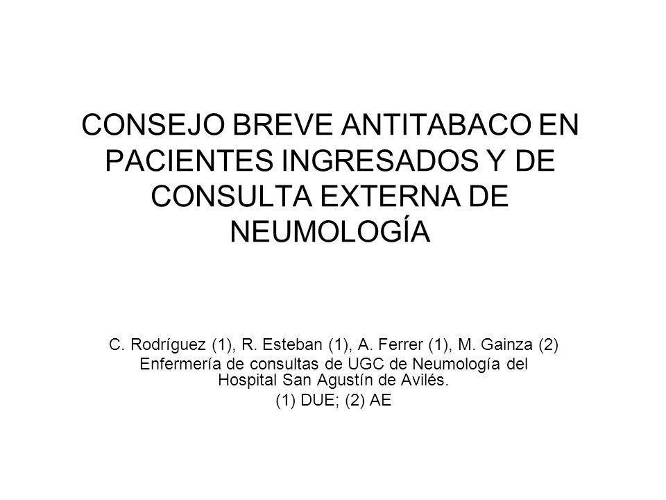 CONSEJO BREVE ANTITABACO EN PACIENTES INGRESADOS Y DE CONSULTA EXTERNA DE NEUMOLOGÍA C.