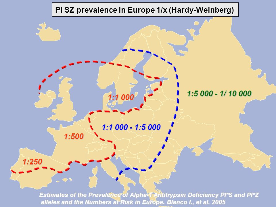 PI MZ prevalence in Europe 1/x (Hardy-Weinberg) 1:10 - 25 1:40 - 50 1:50 -100 1:100 -150 1:25 - 35 Estimates of the Prevalence of Alpha-1 Antitrypsin Deficiency PI*S and PI*Z alleles and the Numbers at Risk in Europe.