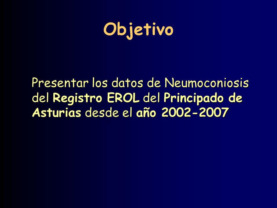 Objetivo Presentar los datos de Neumoconiosis del Registro EROL del Principado de Asturias desde el año 2002-2007
