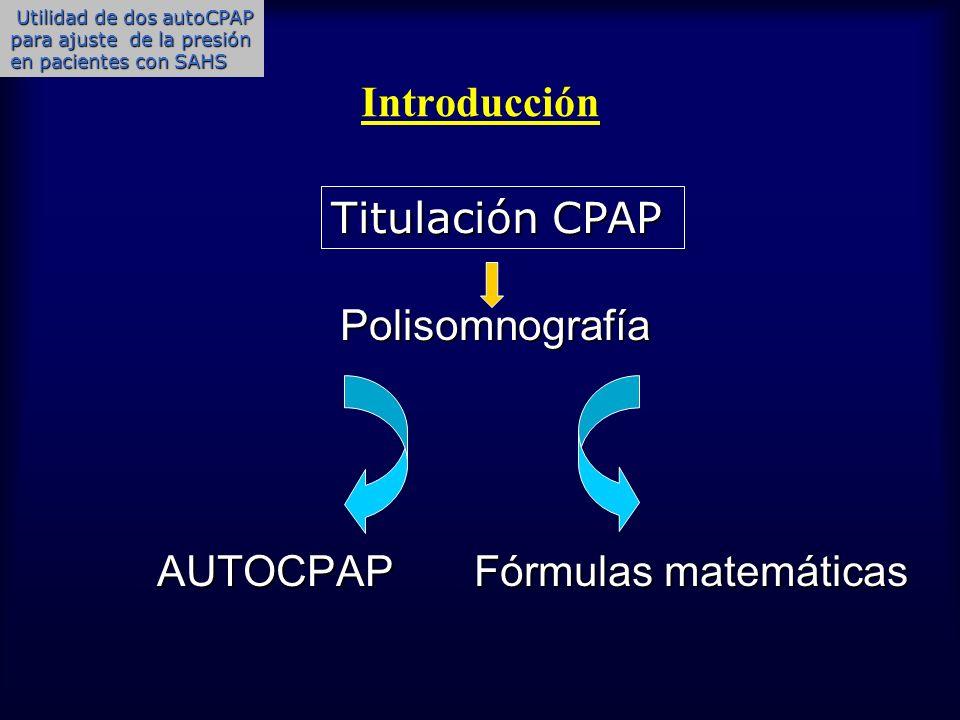 Objetivo Valorar la utilidad de dos CPAP automáticas (autoCPAP) para ajustar la presión terapéutica óptima de CPAP y su relación con la presión obtenida mediante fórmula matemática en pacientes con SAHS.