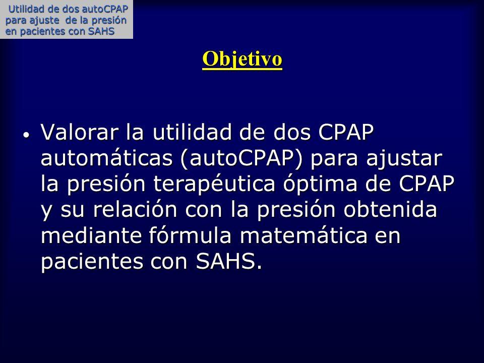 Objetivo Valorar la utilidad de dos CPAP automáticas (autoCPAP) para ajustar la presión terapéutica óptima de CPAP y su relación con la presión obteni