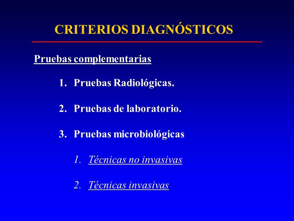 1.Pruebas Radiológicas. 2.Pruebas de laboratorio. 3.Pruebas microbiológicas 1.Técnicas no invasivas 2.Técnicas invasivas CRITERIOS DIAGNÓSTICOS Prueba