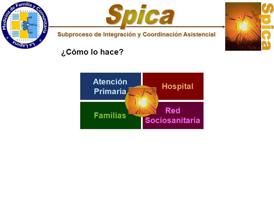 Atención Primaria Red Sociosanitaria Familias Hospital ¿Cómo lo hace? Subproceso de Integración y Coordinación Asistencial