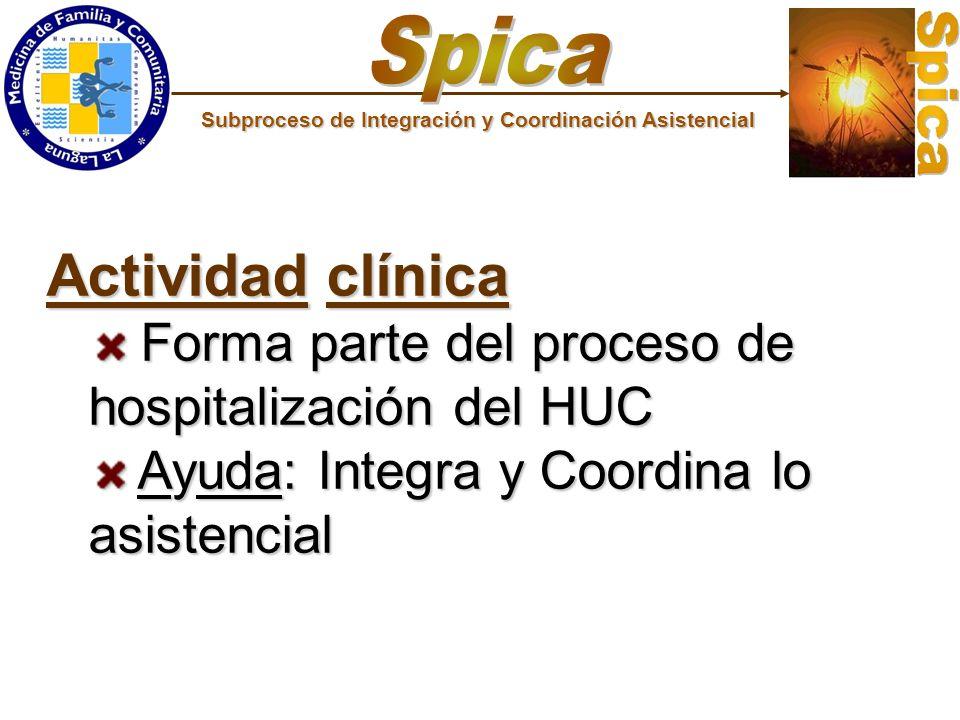 Actividad clínica Forma parte del proceso de hospitalización del HUC Forma parte del proceso de hospitalización del HUC Ayuda: Integra y Coordina lo a