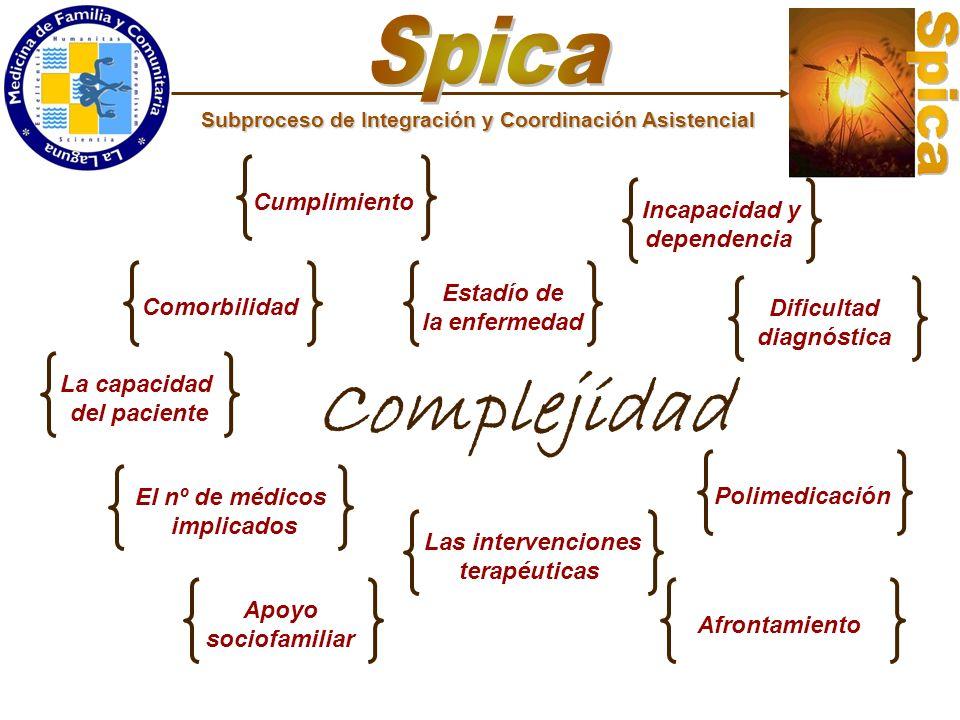 Subproceso de Integración y Coordinación Asistencial Complejidad Comorbilidad Estadío de la enfermedad Dificultad diagnóstica Polimedicación Las inter
