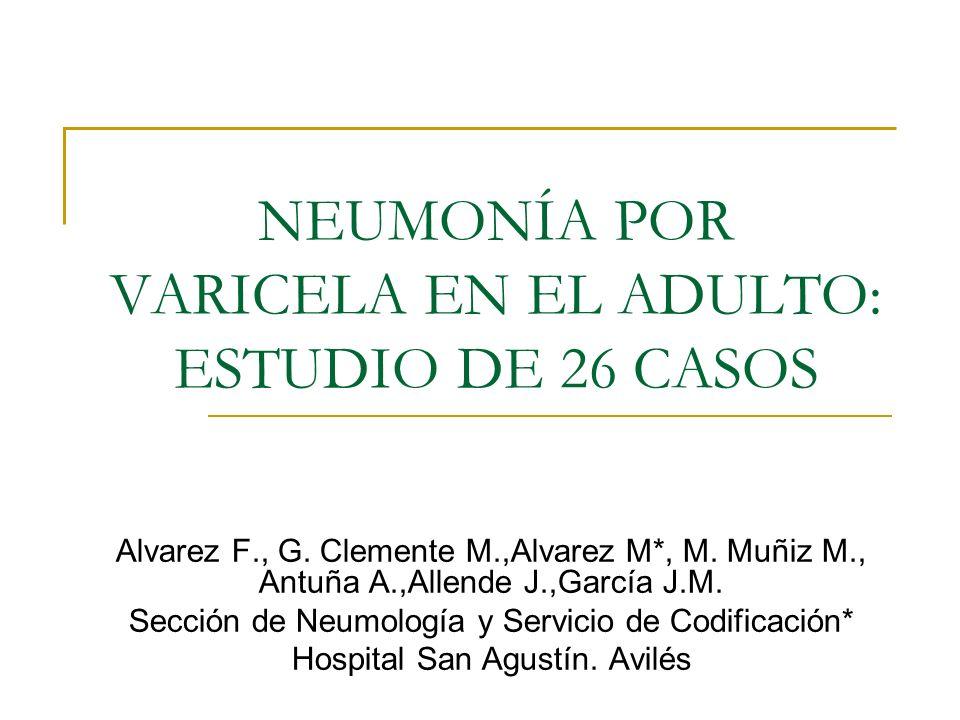 NEUMONÍA POR VARICELA EN EL ADULTO: ESTUDIO DE 26 CASOS Alvarez F., G. Clemente M.,Alvarez M*, M. Muñiz M., Antuña A.,Allende J.,García J.M. Sección d