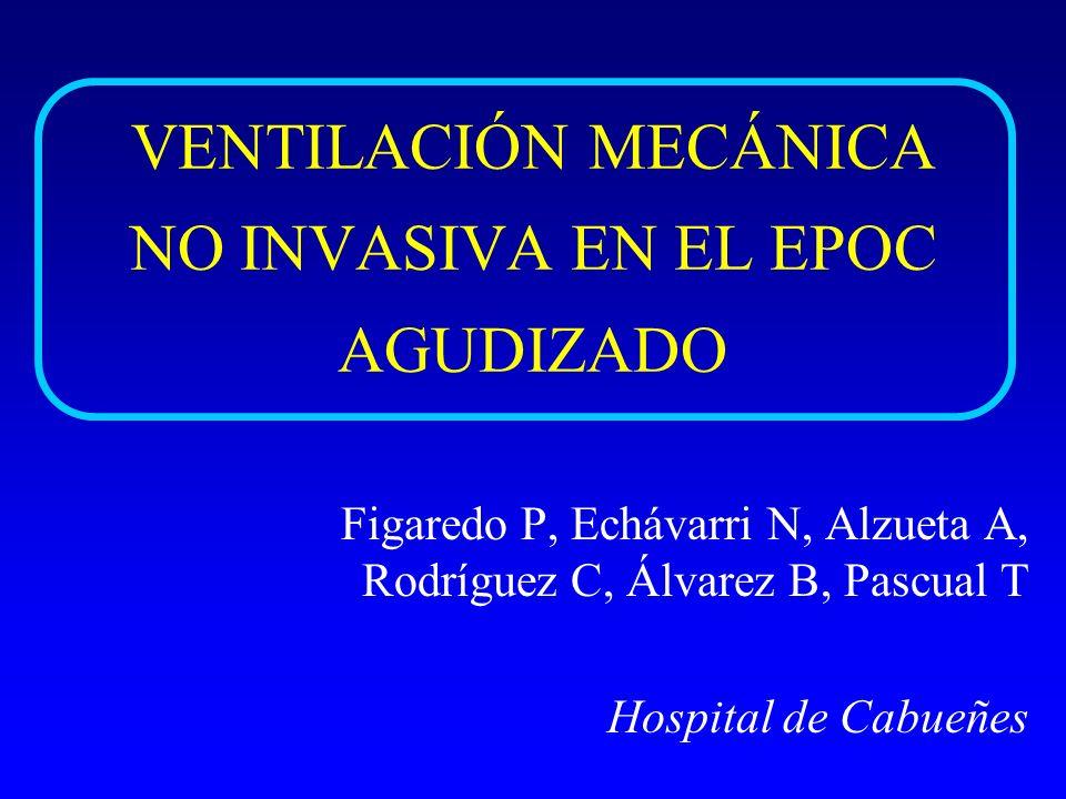 INTRODUCCIÓN Ventilación mecánica no invasiva (VMNI): (Brochard et al., N Eng Med 1995) - Mortalidad en EPOC agudizado + IRA + hipercapnia - Necesidad de intubación endotraqueal - Frecuencia de complicaciones - Duración de ingresos - Costes sanitarios