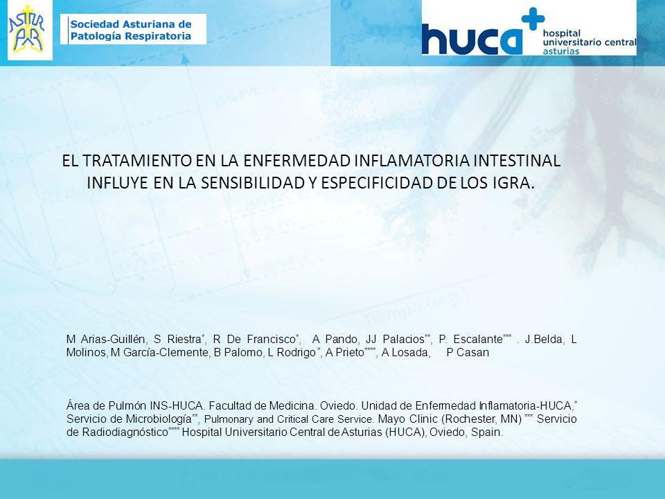 EL TRATAMIENTO EN LA ENFERMEDAD INFLAMATORIA INTESTINAL INFLUYE EN LA SENSIBILIDAD Y ESPECIFICIDAD DE LOS IGRA. M Arias-Guillén, S Riestra *, R De Fra