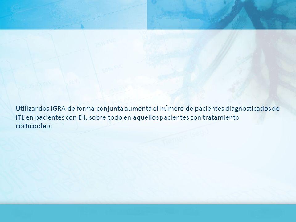 Utilizar dos IGRA de forma conjunta aumenta el número de pacientes diagnosticados de ITL en pacientes con EII, sobre todo en aquellos pacientes con tr