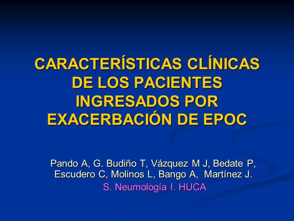CARACTERÍSTICAS CLÍNICAS DE LOS PACIENTES INGRESADOS POR EXACERBACIÓN DE EPOC Pando A, G.