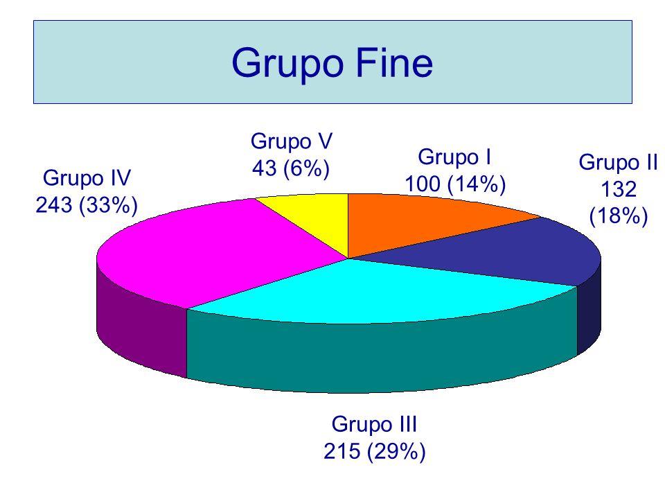 Grupo Fine Grupo I 100 (14%) Grupo II 132 (18%) Grupo III 215 (29%) Grupo IV 243 (33%) Grupo V 43 (6%)